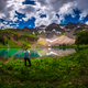 Hiker looks at Blue Lake Ridgway Colorado - PhotoDune Item for Sale