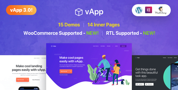 vApp | WordPress App Landing Page - Software Technology
