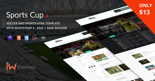 Sports Cup, Soccer & Sporting Html Theme with Bootstrap 4 + Page Builder - Entertainment Site Templates