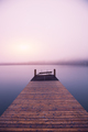 Empty footbridge with a bench on a lake Altausseer at sunrise - PhotoDune Item for Sale