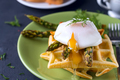 Grilled waffle with Green boiled Asparagus with Poached Egg, with salt and spices on ceramic plate - PhotoDune Item for Sale
