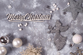 christmas composition with silver New Year's toys on gray stone background/ Christmas card with - PhotoDune Item for Sale