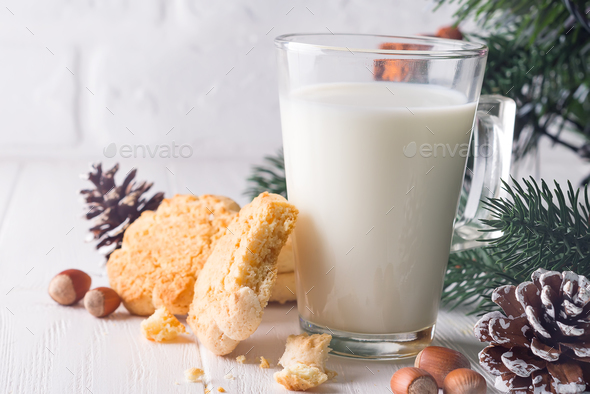 Cookies and milk for Santa Clause on wood background, - Stock Photo - Images