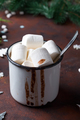 Winter hot drink close up. Hot chocolate or cocoa with marshmallow and spices on dark stone - PhotoDune Item for Sale