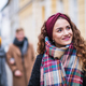 A portrait of teenage girl with headband and scarf on the street in winter. - PhotoDune Item for Sale