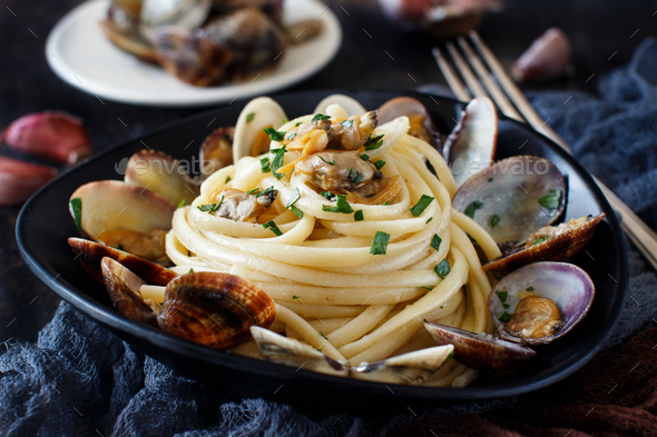 Linguini with clams - Stock Photo - Images