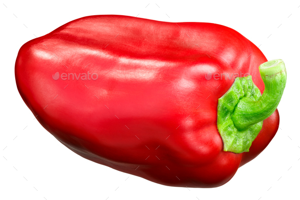 Red bell pepper c. annuum, paths - Stock Photo - Images