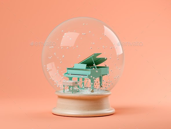 Snow globe with piano on a pink background 3D illustration - Stock Photo - Images