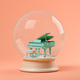 Snow globe with piano on a pink background 3D illustration - PhotoDune Item for Sale