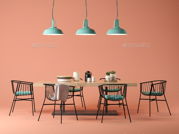 Interior design room with table and chairs concept 3D illustration - Stock Photo - Images