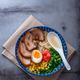 Japanese tonkotsu ramen, pork bone broth noodles, copy space - PhotoDune Item for Sale
