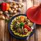 Chermoula fish tajine with bell peppers, moroccan cousine. - PhotoDune Item for Sale