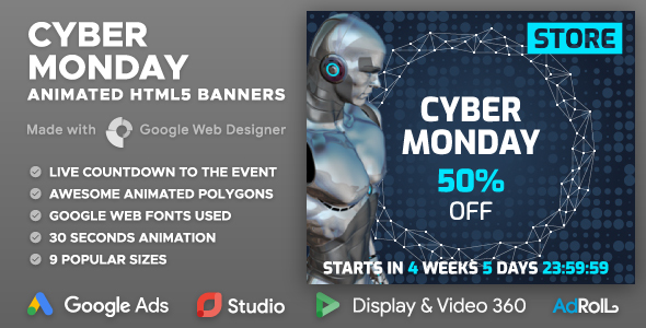 Cyber Monday Sale - Shopping HTML5 Banners with Live Countdown (GWD)            Nulled