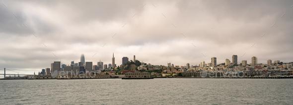Long Panoramic View San Francisco Fishermans Wharf City Skyline - Stock Photo - Images