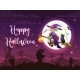Flying Halloween Witch and Black Cat on Cemetery - GraphicRiver Item for Sale