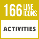 166 Activities Line Inverted Icons - GraphicRiver Item for Sale
