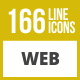 166 Web Line Inverted Icons - GraphicRiver Item for Sale
