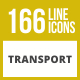166 Transport Line Inverted Icons - GraphicRiver Item for Sale