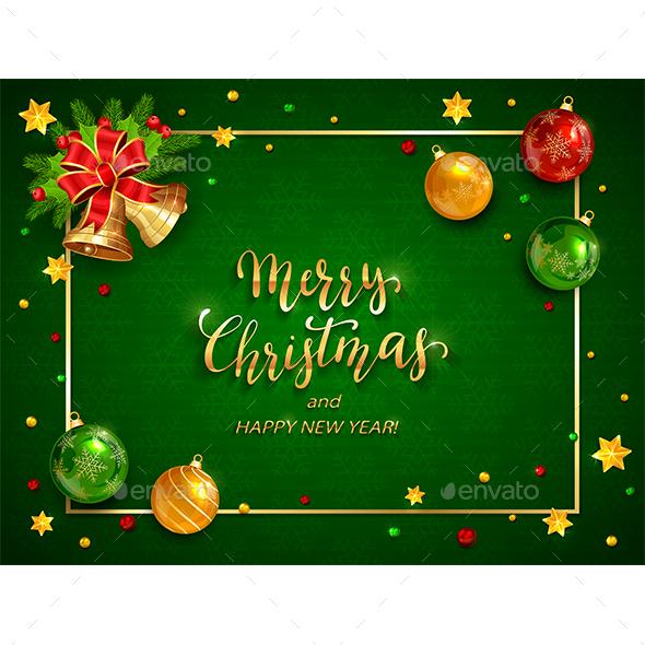 Christmas Balls and Bells on Green Holiday Background - Christmas Seasons/Holidays