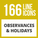 166 Observances & Holiday Line Inverted Icons - GraphicRiver Item for Sale