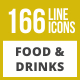 166 Food & Drinks General Line Inverted Icons - GraphicRiver Item for Sale