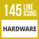 145 Hardware Line Inverted Icons - GraphicRiver Item for Sale