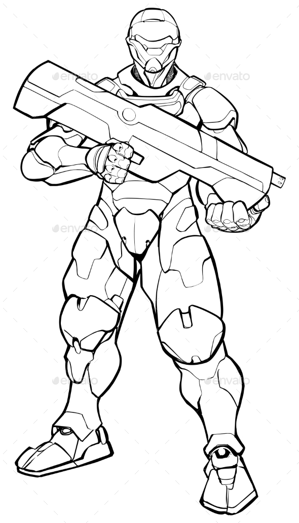 Futuristic Soldier Line Art - Miscellaneous Characters