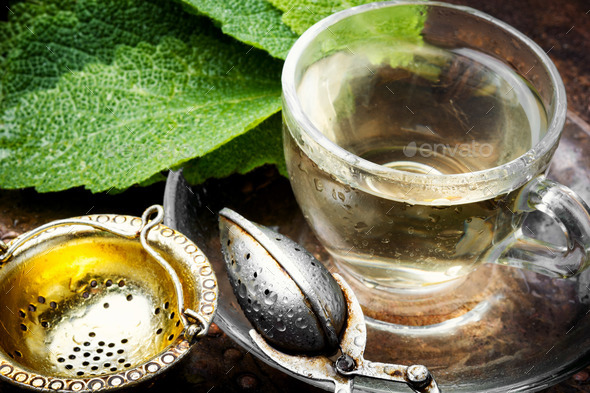 Cups of healthy herbal tea - Stock Photo - Images