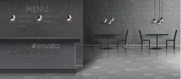 Vector Mockup of Cafe Interior Empty Restaurant - Backgrounds Decorative