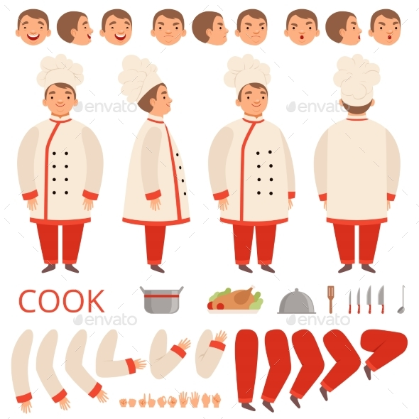 Cook Animation. Chef Characters Body Parts Hands - People Characters