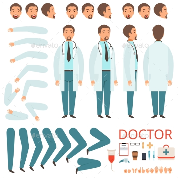 Male Doctor Animation. Hospital Staff Character - People Characters