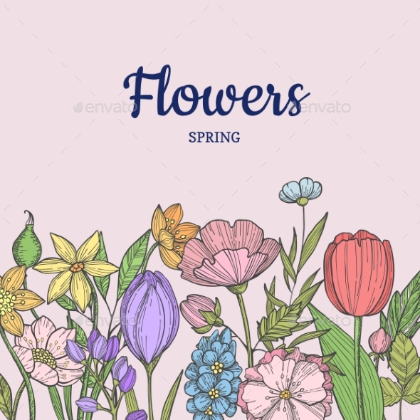Vector Hand Drawn Flowers Background with Place - Miscellaneous Vectors