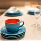Blue stoneware or ceramic cup and saucers - PhotoDune Item for Sale