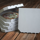 Pizza boxes on vintage wooden planks. Mock up. - PhotoDune Item for Sale