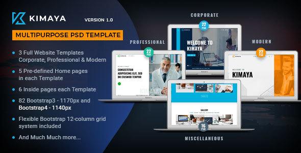 Kimaya - Multipurpose PSD Template - Corporate PSD Templates