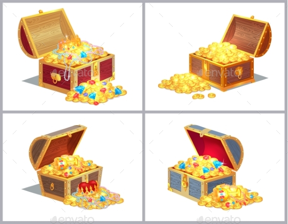 Chest with Treasures Set - Miscellaneous Vectors