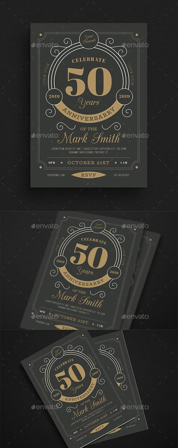 Vintage Anniversary Invitation/Flyer - Cards & Invites Print Templates