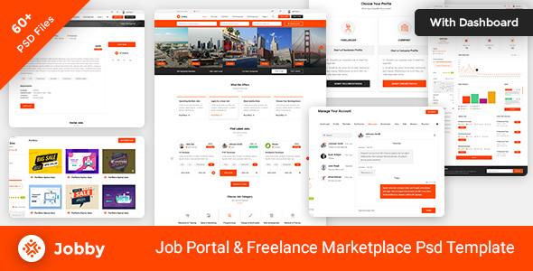 Jobby - Job Portal and Freelance Marketplace PSD Template - Business Corporate