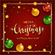 Christmas Lettering on Red Knitted Background with Balls and Stars - GraphicRiver Item for Sale