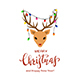 Reindeer Head with Christmas Lights on the Antlers - GraphicRiver Item for Sale