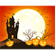 Halloween Background with Castle and Smiling Pumpkins - GraphicRiver Item for Sale