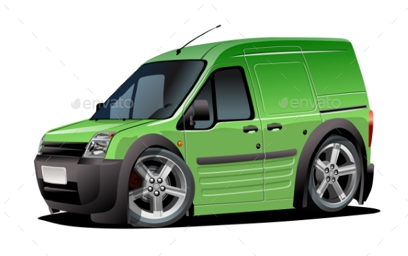 Vector Cartoon Delivery Van Isolated On White - Man-made Objects Objects