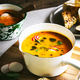 Carrot and Pumpkin soup with Basil oil by Multigrain seeds bread - PhotoDune Item for Sale
