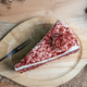 Red velvet cake on wooden table, Top view - PhotoDune Item for Sale