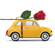 Retro Car With Red Rose - GraphicRiver Item for Sale