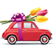 Retro Car With Red Tulips - GraphicRiver Item for Sale