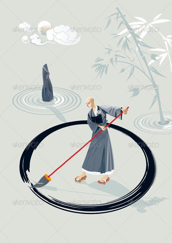 Zen Monk Painting A Circle - Religion Conceptual