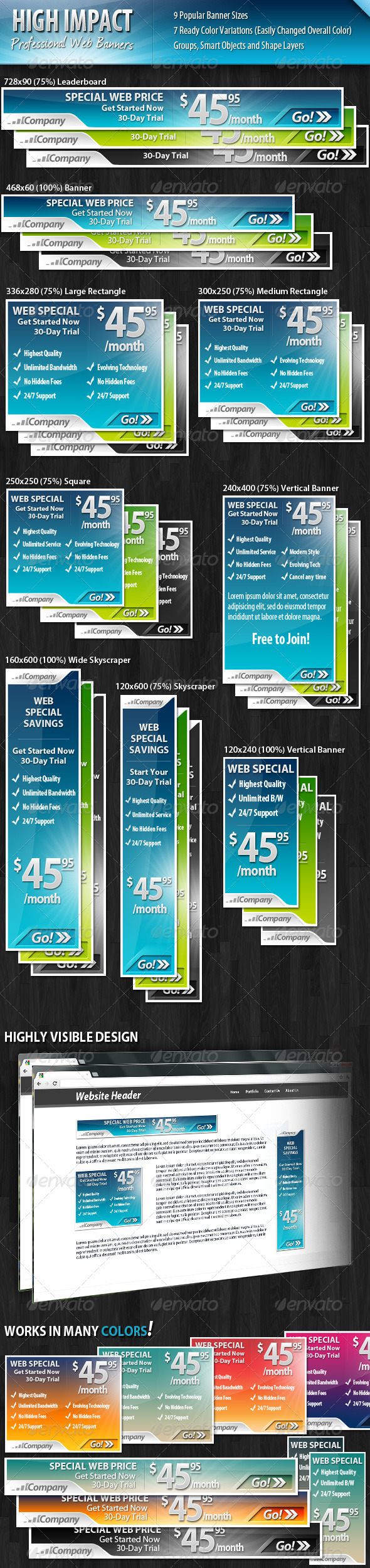 High Impact Professional Web Banners - Banners & Ads Web Elements