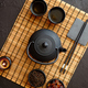 Asian green tea set on bamboo mat - PhotoDune Item for Sale
