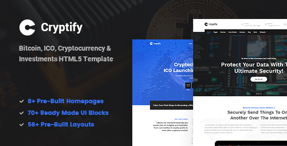 Cryptify - Responsive Bitcoin, Cryptocurrency and Investments HTML Template